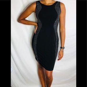 Calvin Klein black silver studs bodycon mini dress